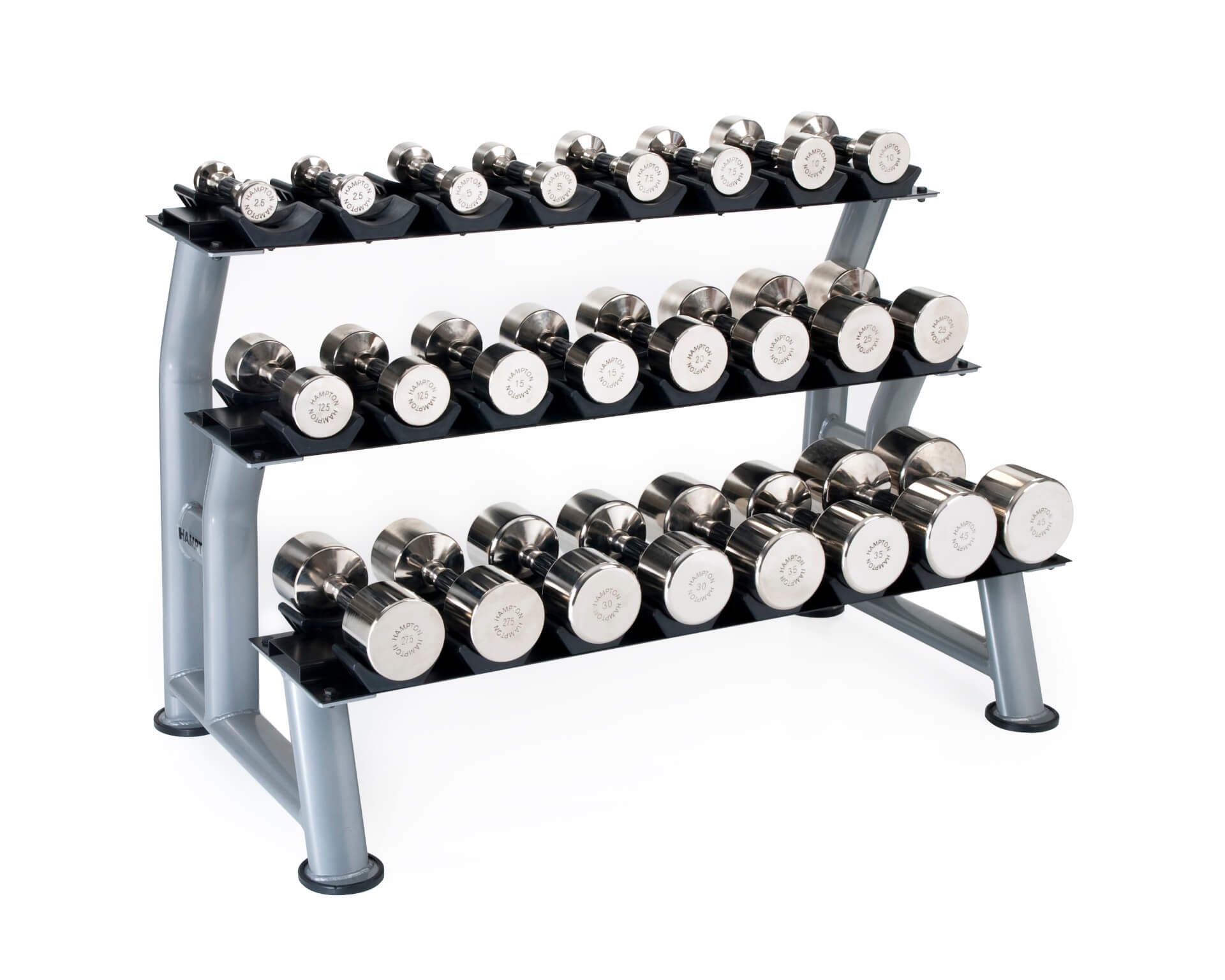 CHROME DUMBBELLS - HORIZONTAL RACKING